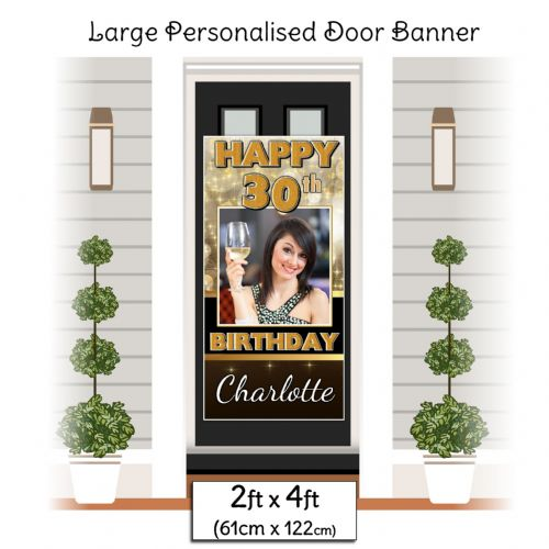 Personalised Happy Birthday Door PHOTO Banner Poster ~ Black & Gold Sparkle N2